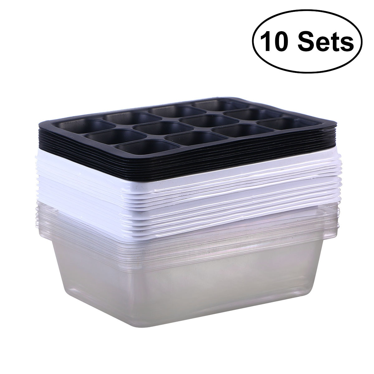 10 Pack Seedling Tray Seed Starter Tray with Dome and Base 12 Cells For Gardening Bonsai - White