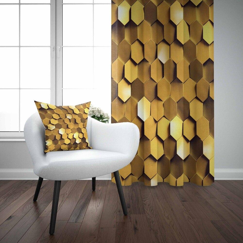 Mais Amarelo Dourado Reto 3D Hexagon Geométrico Abstrato Imprimir Sala Quarto Cortina Painel Da Janela Combinar Presente Fronha