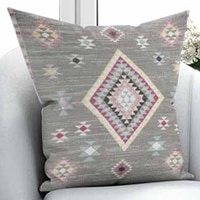 Else Gray Pink Cream Ethnic Turkish Kilim Retro 3D Print Microfiber Throw Pillow Case Cushion Cover Square Hidden Zipper 45x45cm