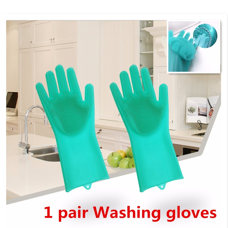1 par magia silicone dishwashing luvas prato lavar borracha esfrega luvas ferramentas de limpeza do agregado familiar escova luvas para o carro pet