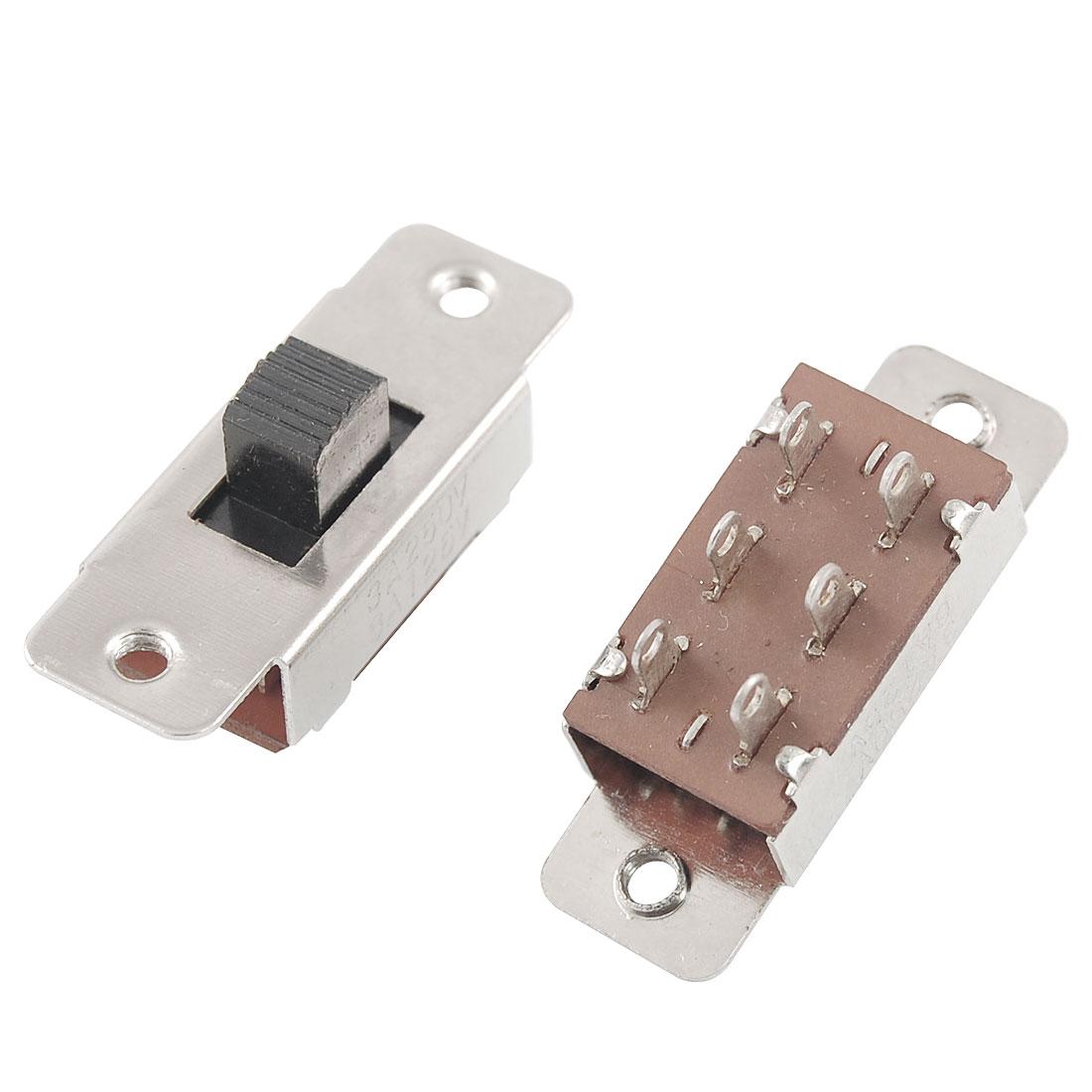 UXCELL 5 шт. AC 6A/125V 3A/250V Вкл/Выкл 3 позиции 6 Pins DPDT 2P2T Pcb панель слайд-переключатель для аудио-видео