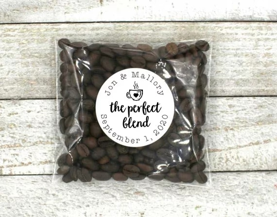 personalized The Perfect Blend White or Kraft brown, bridal shower, coffee tea favor stickers envelop seals tatto
