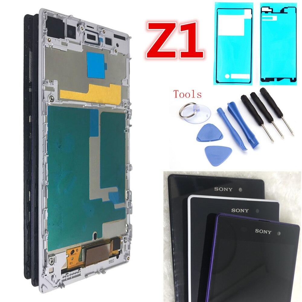 """Für 5.0 """"Sony Z1 L39H LCD Display Touchscreen Digitizer Montage mit rahmen C6902 C6906 C6903 Display Ersatz SONY z1 LCD"""