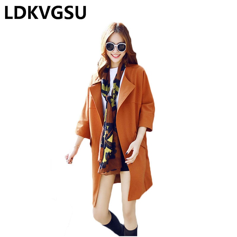 2018 nuevo primavera otoño mujeres siete mangas gabardina moda suelta tamaño grande Casual cuello redondo Femme rompevientos abrigo Is630