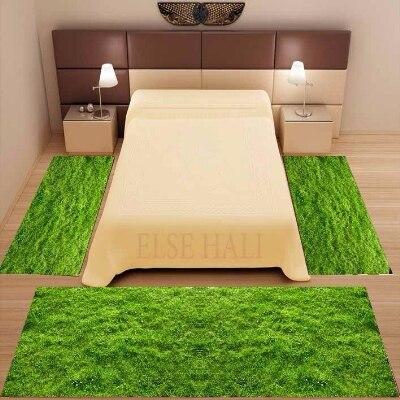 مجموعة سجادة أرضية من الألياف الدقيقة غير قابلة للانزلاق ، 3 قطع ، عشب أخضر ، تصميم زهور ، ثلاثية الأبعاد ، مطبوعة ، ديكور ، قابل للغسل ، لغرفة ...