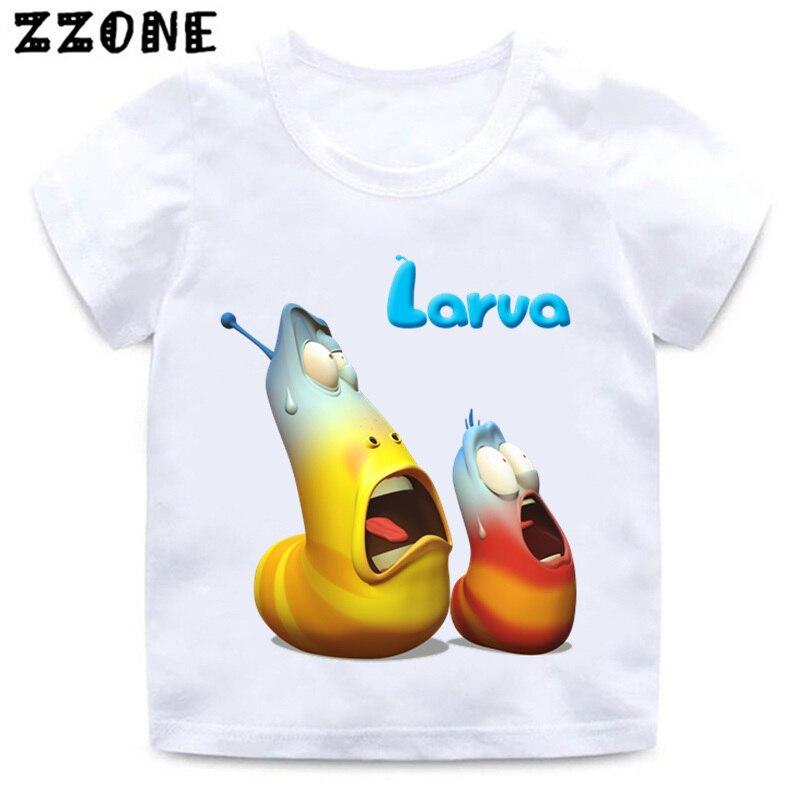 Camiseta divertida con estampado de Larva de dibujos animados para niños, camiseta blanca de verano para niños y niñas de Korea, HKP5213