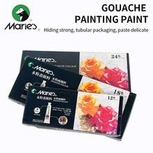 Maries 12/18/24/36 couleurs Gouache peinture ensemble de peinture haute qualité Transparent 12ML Gouache Pigment pour artiste étudiant