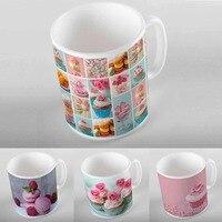 Else Pink Blue Cupcakes Donut Macaroon 3D Digital Printing Modern Turkish Ceramic Porcelain Coffee Tea Milk Cup Mug