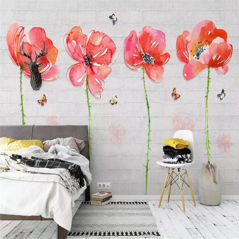 الزهور فراشة حائط الخلفية أريكة المهنية صنع جدارية مصنع الجملة خلفيات مخصص المشارك الصورة جدار