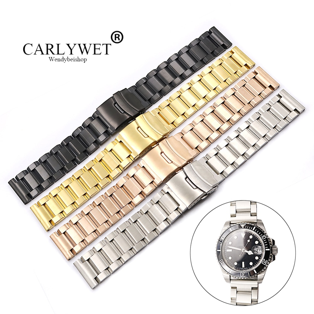 CARLYWET 18 20 22 24mm plata oro negro Rosa banda de reloj dorada para etiqueta CARRERA Omega montblanco Panerai Daytona Submariner Tissot