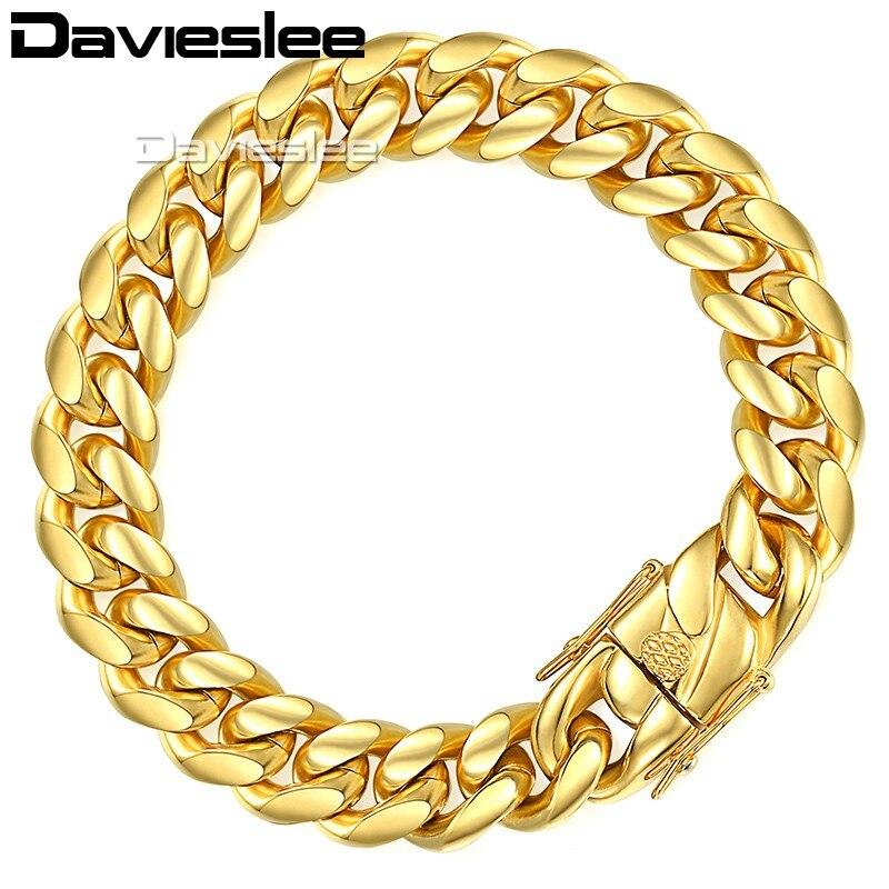 Davieslee, pulsera para hombre, cadena Miami Curb, acero inoxidable cubano 316L, Color dorado y plateado, 8/12/14mm, 9 pulgadas, LHBM111