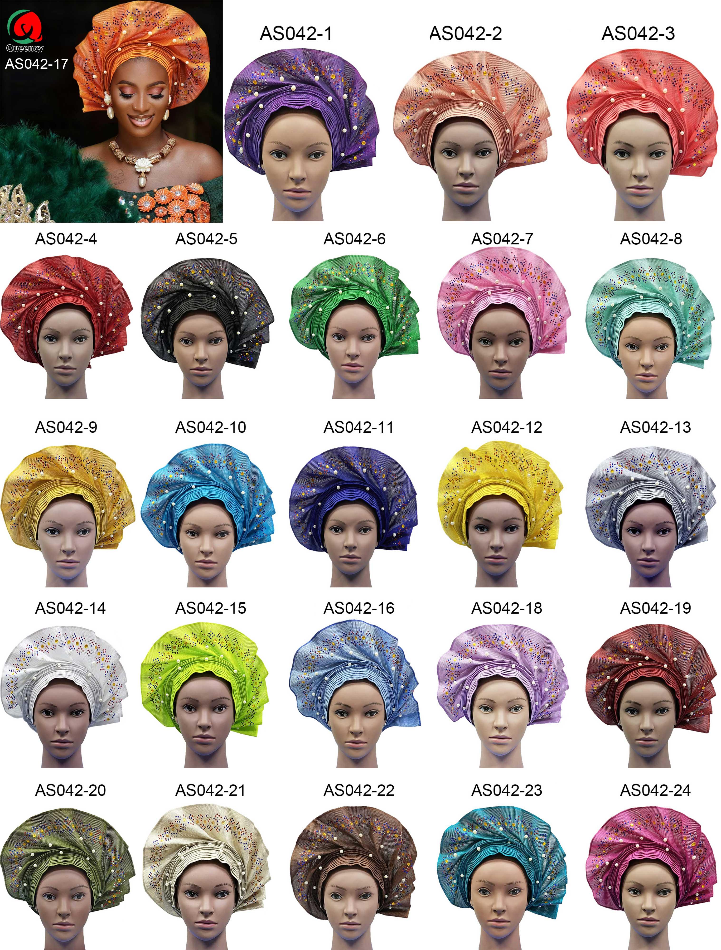 AS042 2019 Moda Africana mujeres Headwrap Aso Oke Auto Gele para Aso Ebi africano Headtie con cuentas