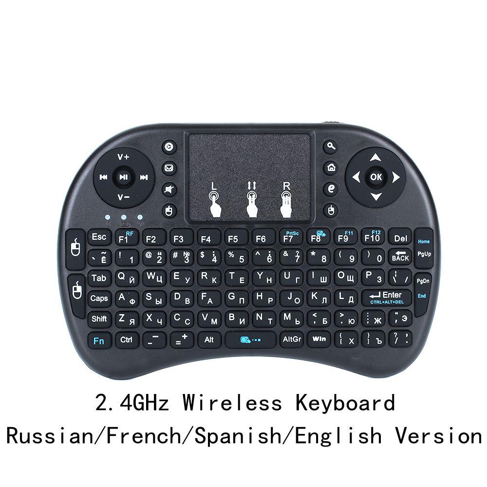 Teclado inalámbrico i8 versión en ruso/Inglés/Español, 2,4 GHz, Air Mouse, Teclado Touchpad portátil para Android TV y PC, envío gratis
