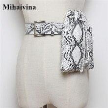 Mihaivina Python taille sac femmes Fanny Pack ceinture sacs de luxe marque taille Packs en cuir femmes sac à main seau sacs en gros