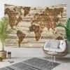 Objet d'art mural en bois brun tapisserie décorative carte de la terre Vintage impression 3D style bohème Hippi