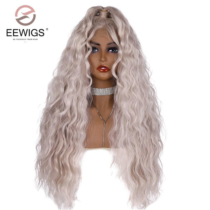 EEWIGS פאת קוספליי פלטינום בלונד תחרה קדמית פאה רסיס שיער עם קוקו חום עמיד סינטטי פאות לנשים שחורות
