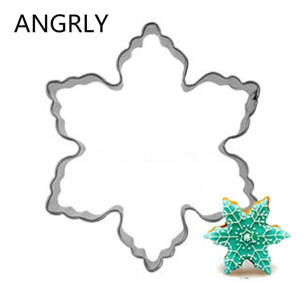 Фото Снежинка рождественские инструменты для печенья форма печати нержавеющая сталь