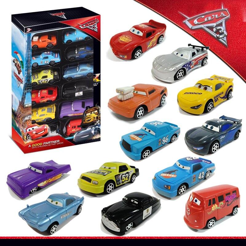 12 unids/set Disney Pixar coches 3 Rayo McQueen tormenta negra Jackson Mater 155 de plástico juguetes modelos de automóviles regalo de Navidad los niños