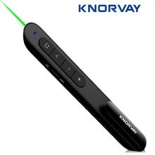 Knorvay N76 Drahtlose Fernbedienung Seite Drehen Grün Laser-Pointer Präsentation Presenter Stift 532nm Lazer