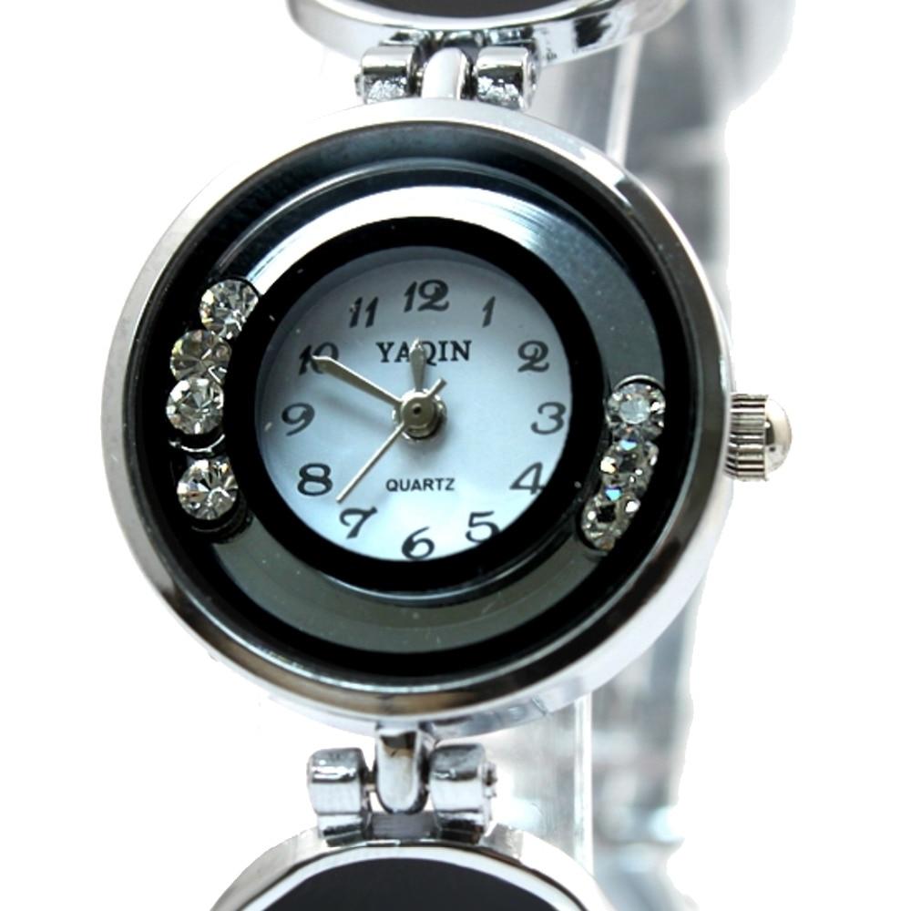 Round scroll Crystal Silver Watchcase White Dial Ladies Women Bracelet Watch FW753B enlarge
