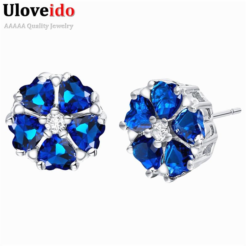 Pendientes de flor Uloveido para mujer pendientes de cristal de Color plateado Brincos 2017 pendientes de joyería de moda regalo Oorbellen R845