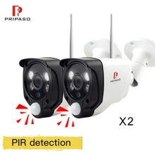 Pripaso 2pcs PIR IP Camera kit 1080P 720P WiFi CCTV Camara Dual Color LED Night Vision Mini Bullet Surveillance Camera P2P View
