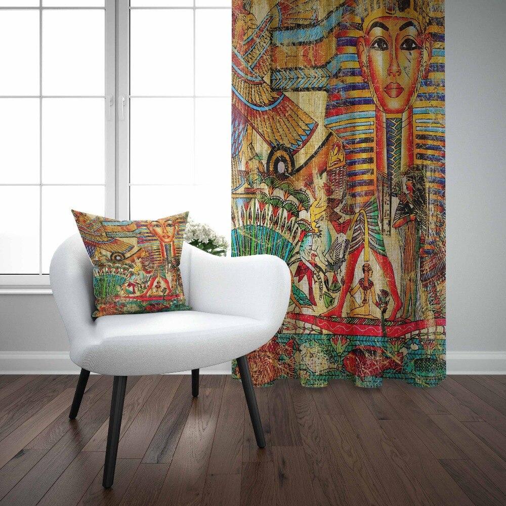 Else Orange Brown Blue Ethnic Egypt Persian Tribe 3d Print Living Room Bedroom 1 Panel Set Curtain Combine Gift Pillow Case
