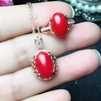 kjjeaxcmy boutique jewelry 925 sterling silver inlaid natural pink coral necklace pendant ring suit support detection