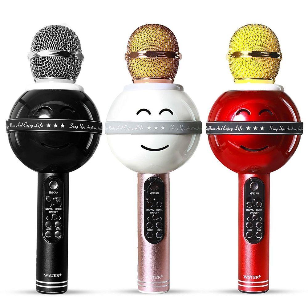 Microphone Portable Karaoke Bluetooth Speaker Built-in Wireless KTV Sound HI-FI LED Lights