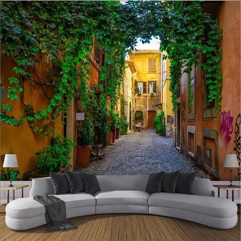 Small town street Street view 3d wall professional production wallpaper mural custom photo wall whole house custom