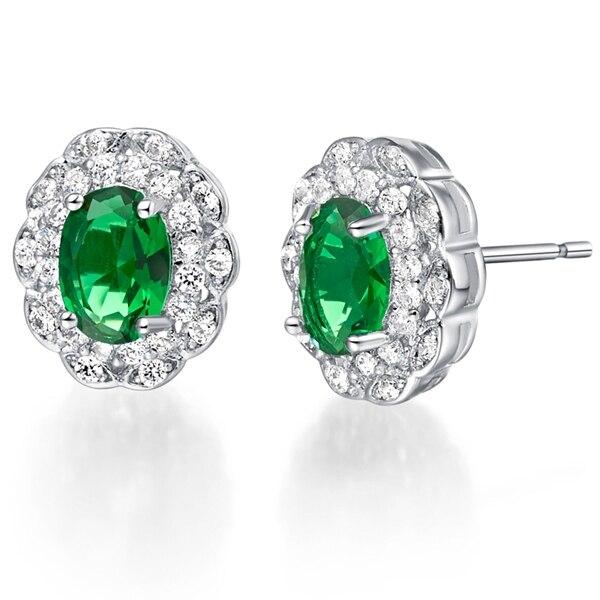 Pendientes de tuerca Uloveido de Color plata con flores de cristal verde con piedras de caramelo para mujeres Brincos Boucle d Oreille Bijoux Femme R776