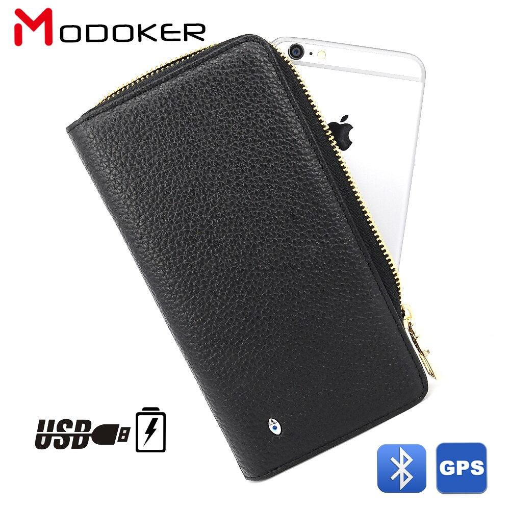 Cartera de mano Modoker de piel auténtica para hombre con carga USB, rastreador GPS de fuente portátil y buscador Bluetooth negro