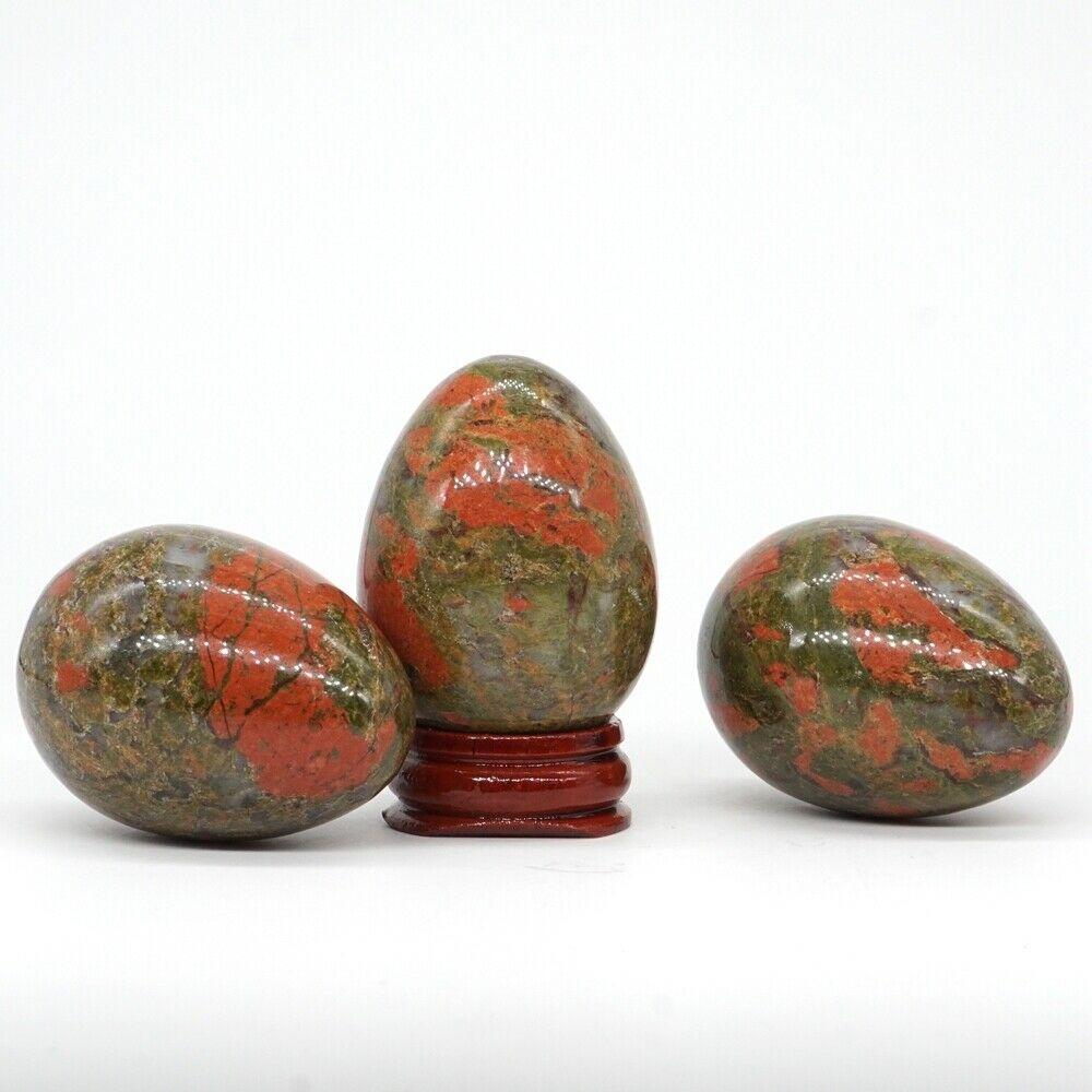 35x49 MM piedra preciosa Natural Unakite cristal de cuarzo Reiki forma de curación de huevo (1 piezas)
