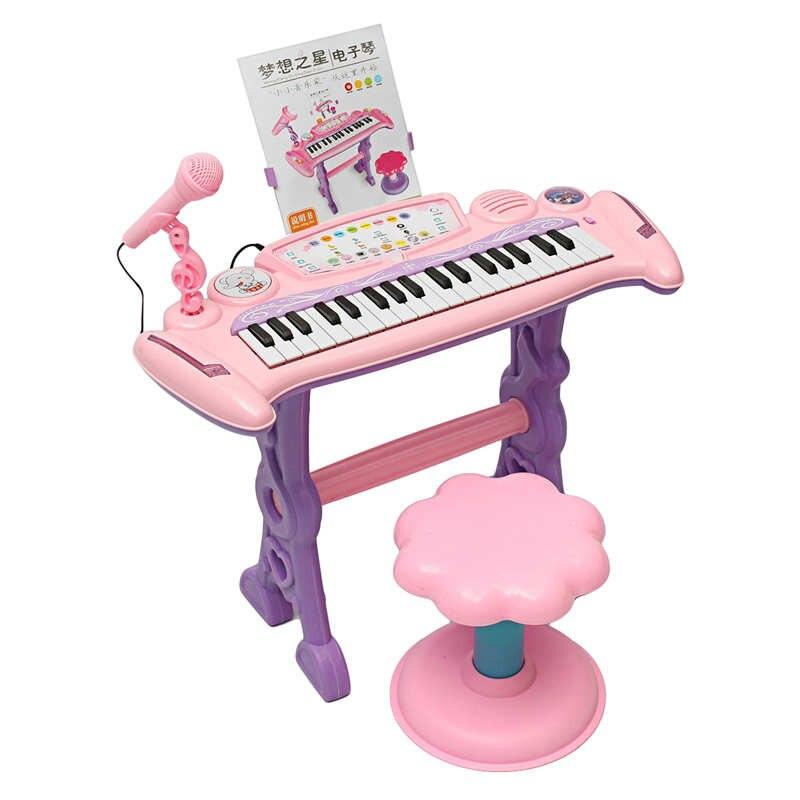 Juguete de órgano de Piano con teclado electrónico rosa de 37 teclas para niños/micrófono musical juguete para regalo educativo para niños