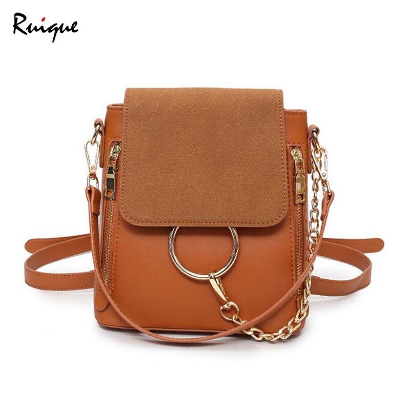Ruique 2018 Women New Fashion Summer Backpack Female Small Scrub High PU Leather Shoulder Bag Girls Ring Chain Pendant Backpacks