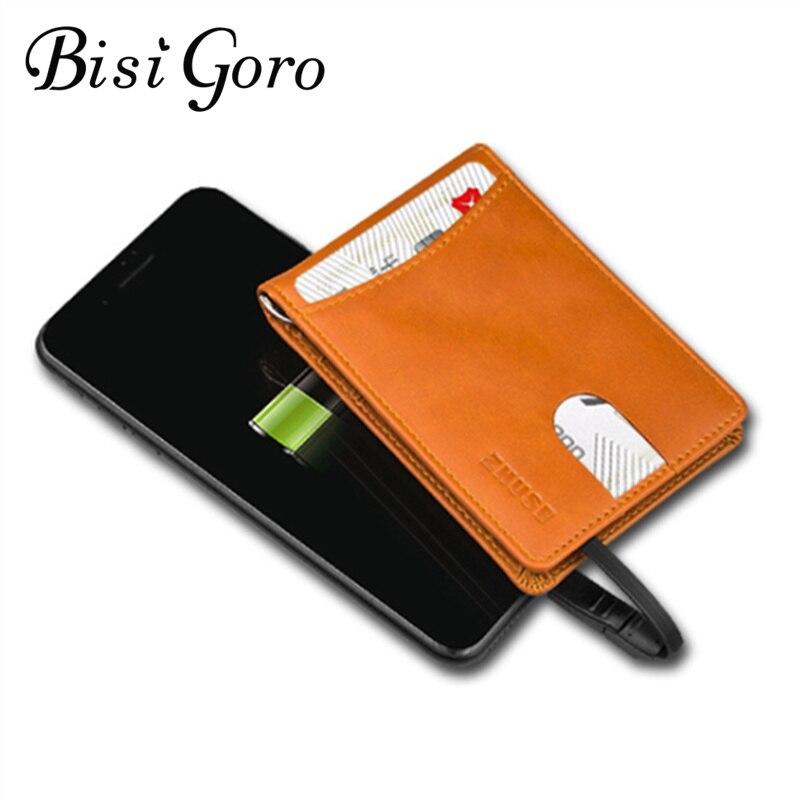 BISI GORO 2019 nueva cartera inteligente Unisex con cartera de carga USB adaptable para Ipone y Android tipo-c capacidad 4000 mAh 3 colores