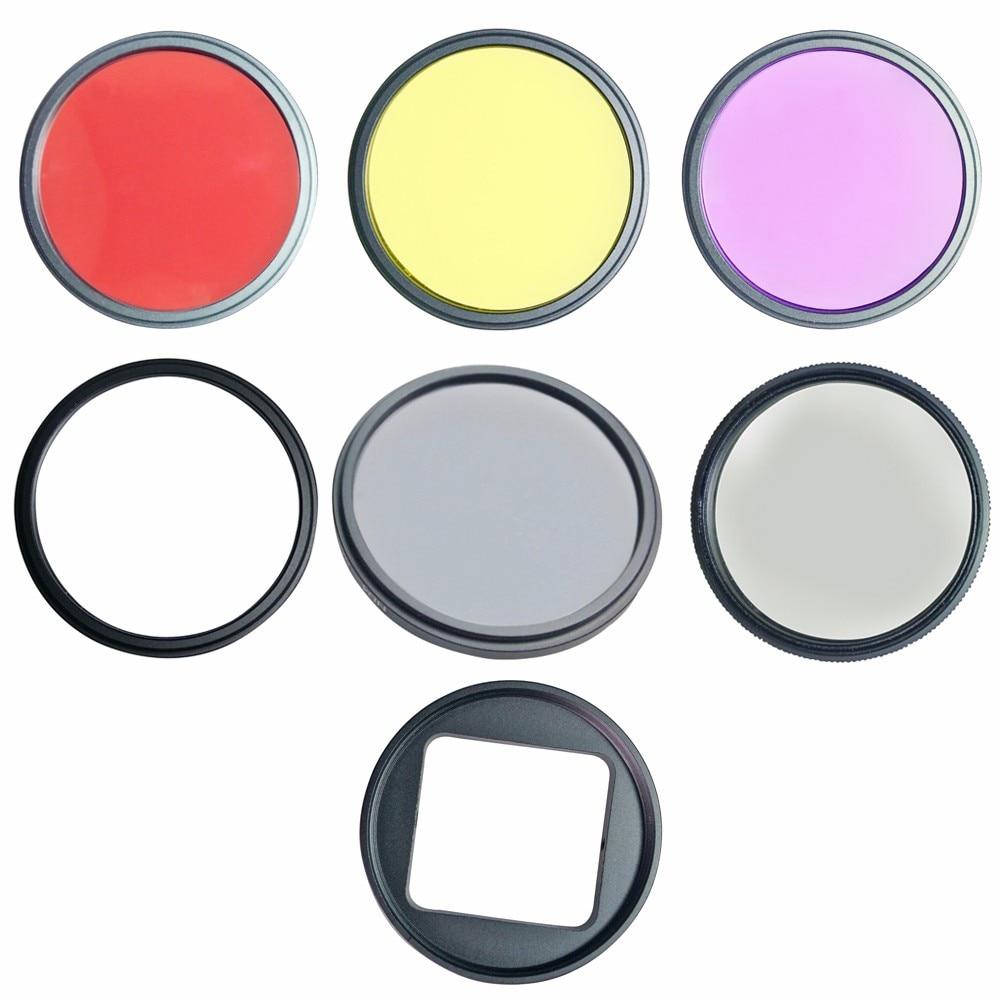 Nuevo conjunto de filtros de 52mm CPL FLD ND4 filtro UV para Gopro Hero 4 3 + Cámara amarillo rojo adaptador de anillo de lente Clean Clot