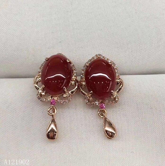 KJJEAXCMY boutique jewelryar apoyo de detección de 925 de plata con incrustaciones de rubí Natural Coral rojo oreja femenina las uñas