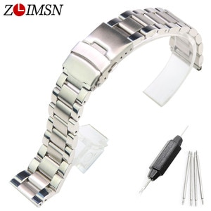 ZLIMSN Brushed Silver Watchbands 18 20 22mm Stainless Steel Watch Strap 3 LINKS Watches Bracelets Replacement Relogio Feminino