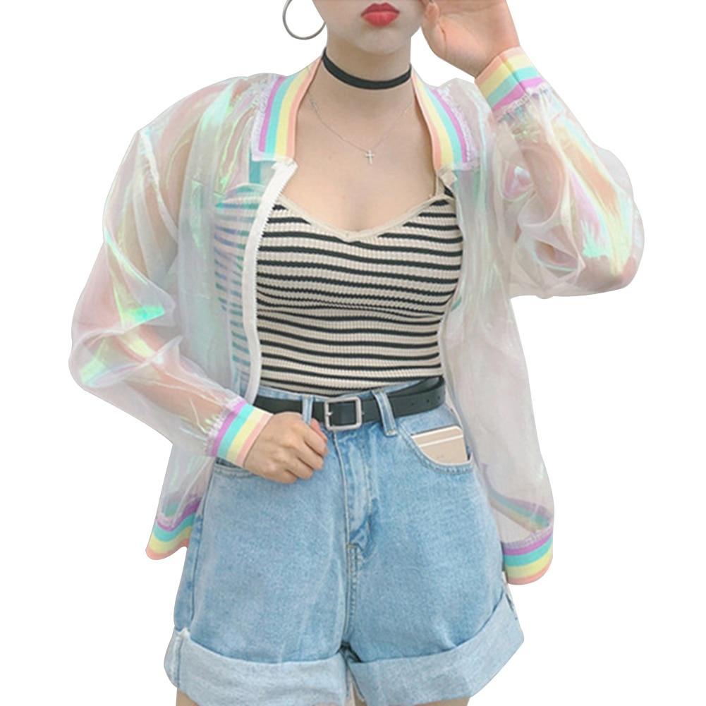 Chaqueta transparente iridiscente, holografía, arco iris puro, Tumblr, Grunge, 90s, moda
