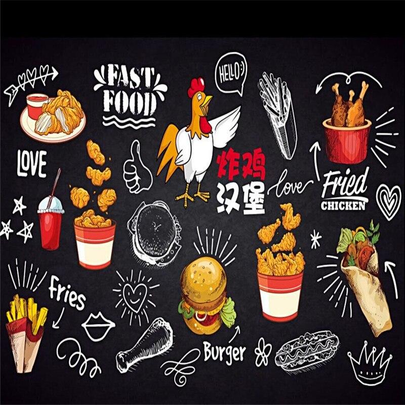 Pizarra dibujada a mano pollo frito hamburguesa gourmet catering comida rápida patatas fritas Fondo pared producción profesional papel pintado mu