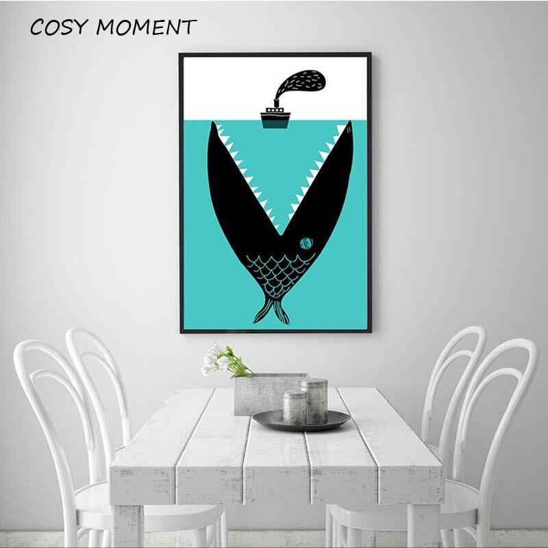 Cosy moment dibujos animados Bansky Graffiti arte pintura Shark Boat pintura marina en lienzo póster imagen de pared para sala de estar habitación de bebé