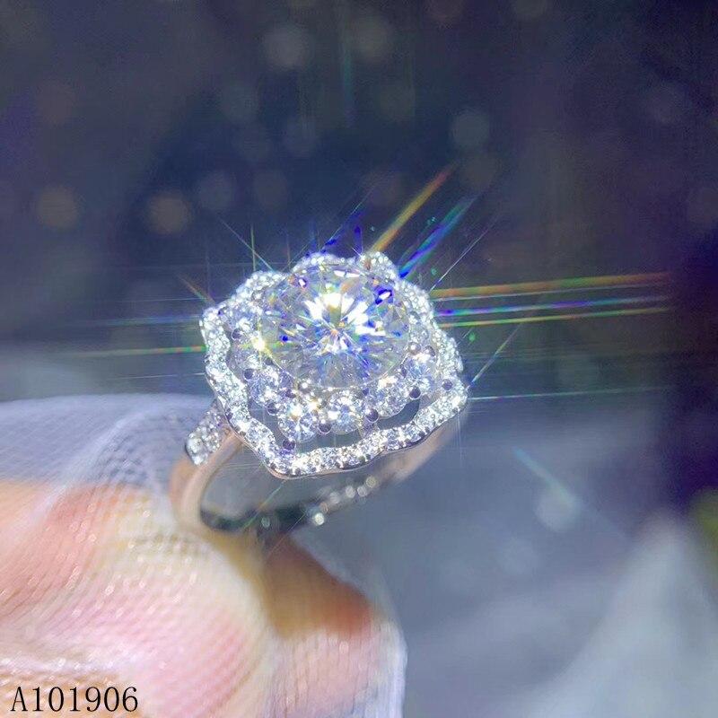 Joyería Fina KJJEAXCMY, incrustación de Plata de Ley 925 de 2,0 quilates, anillo de piedras preciosas de diamantes de Mozambique para mujer con certificado de soporte