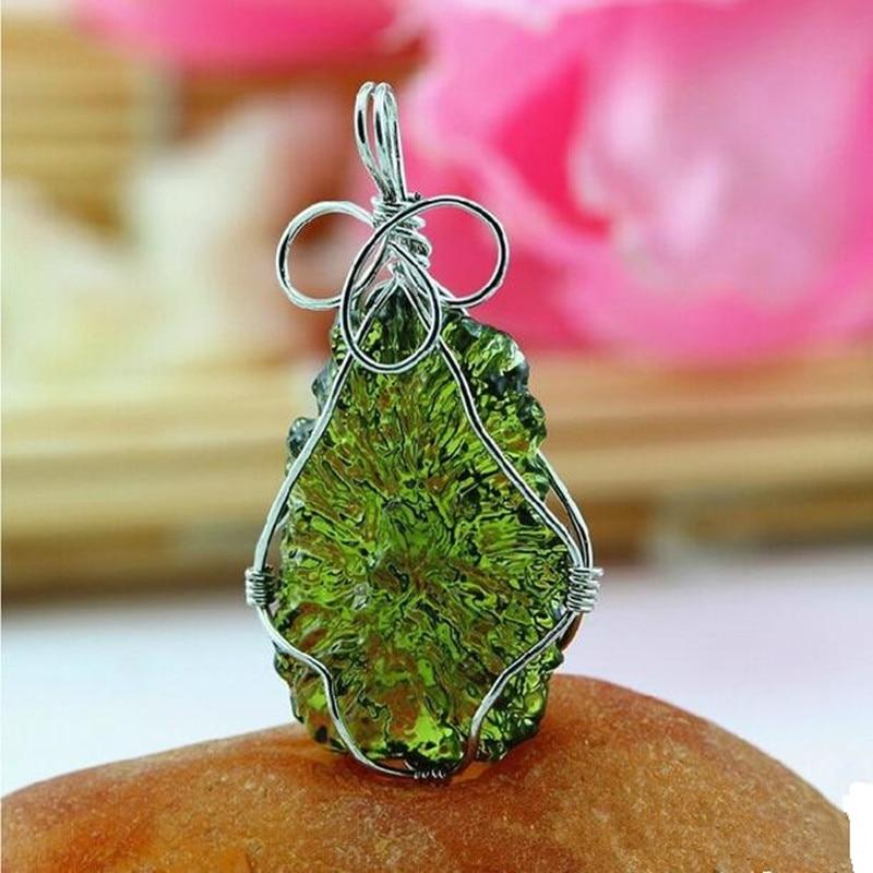Sale A++ Natural Moldavite Green Aerolites Crystal Falling Stone Pendant Energy Apotropaic 7G-8G/ Lot + Free Rope Necklace