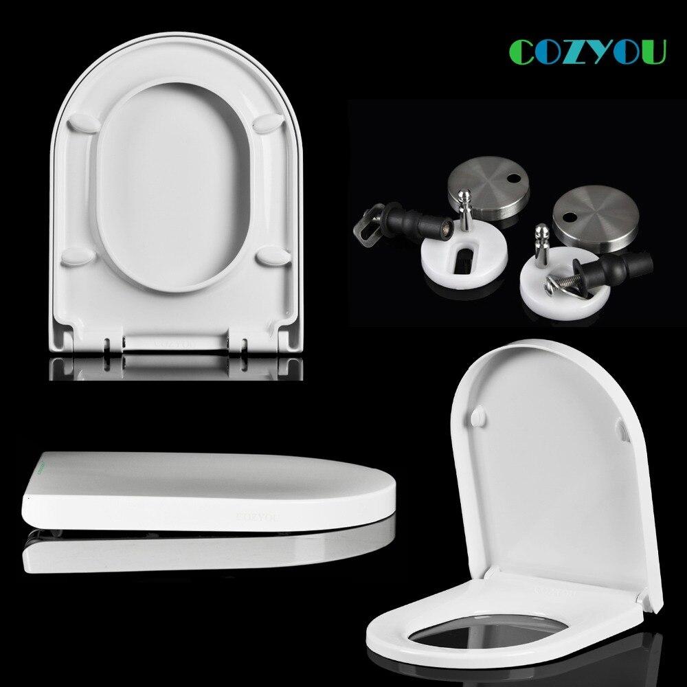 UF السيراميك الملمس مقعد المرحاض U شكل اليوريا الفورمالديهايد المواد بطيئة مغلقة بنقرة واحدة إزالة COZYOU GBF17253SU