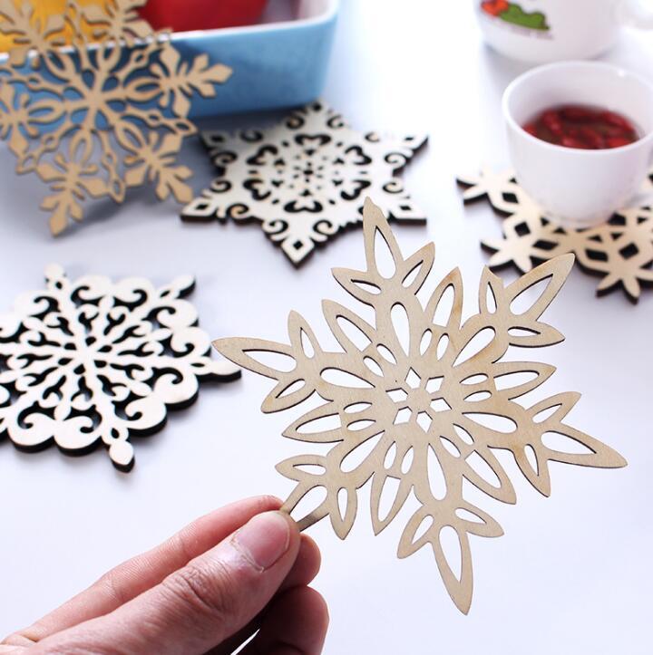 Christmas 6pcs/lot Snowflake Placemat For Dining Wooden Tableware Pad Table Mat Mug Bowl Dish Mat Coaster Kitchen Accessories