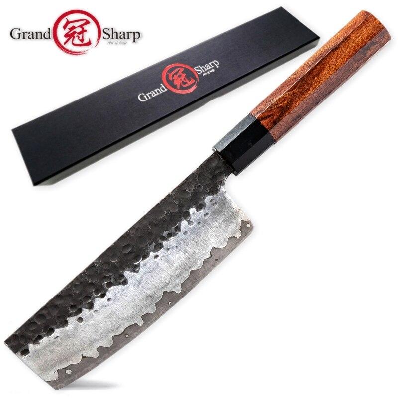 Кухонный нож ручной работы 3 слоя японский AUS10 стальные ножи накири шеф-повара овощи инструменты натуральная деревянная ручка экологически ...
