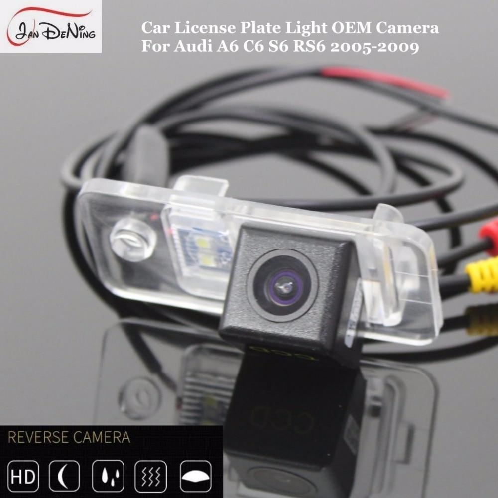 JanDeNing HD CCD vista trasera de coche aparcamiento/CCD Cámara inversa/luz de matrícula OEM impermeable para Audi A6 C6 S6 RS6 2005-2009