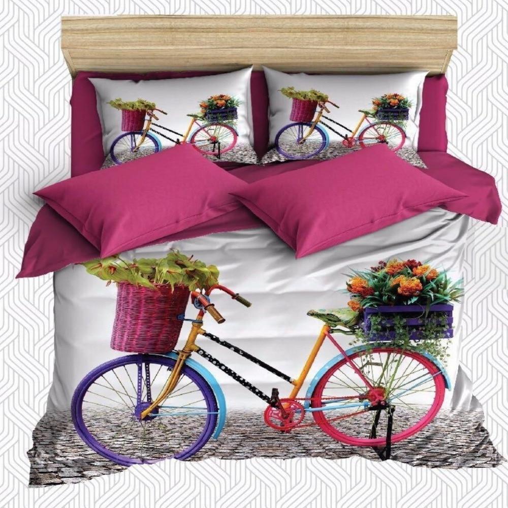 Juego de 6 piezas de fundas de almohada y cama con estampado de flores rosas y azules para bicicleta, pared de ladrillo y estampado 3D de algodón satinado Doble