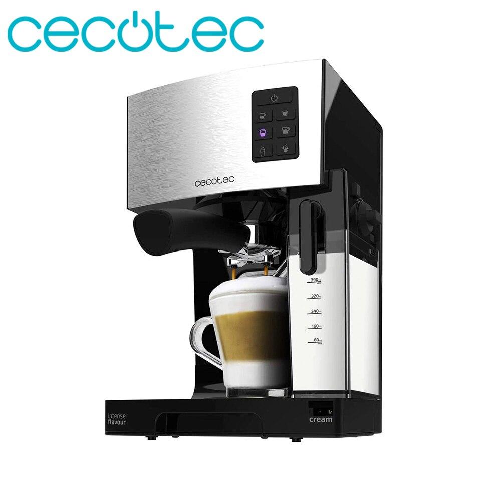 Cecotec Cafetera Power Instant-CCino 20 Cafetera Expreso Italiana de 1450w de Potencia Semiautomática incluye Depósito de Leche Brazo con Doble Salida y Dos Filtros Touch Serie Nera